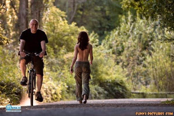 Biciclist fericit