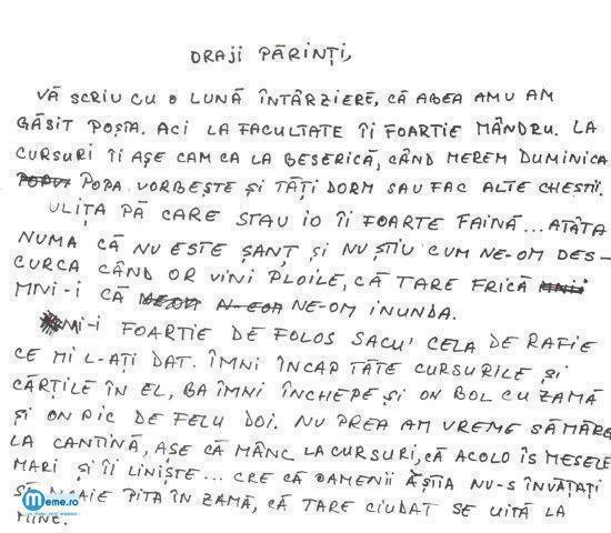 Scrisoare catre, Draji Parinti :))
